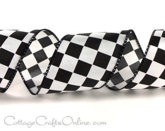 """Wired Ribbon, 2 1/2""""  Black White Check Plaid, THREE YARDS,  Offray """"Fini"""" Racing Finish Flag / Checkerboard / Craft Wire Edge Ribbon"""