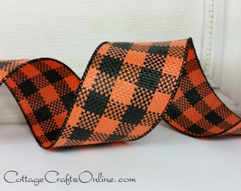 """Halloween Wired Ribbon 2 1/2"""", Orange and Black Check - THREE YARDS - Offray """"Drusilla"""" Weather Resistant Poly Mesh Plaid Wired Edged Ribbon"""