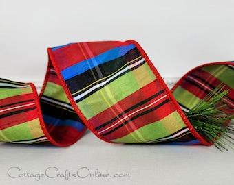 "Christmas Wired Ribbon,  2 1/2"",  Red, Blue, Green, Black Faux Dupioni Tartan Stripe - TEN YARD ROLL ~ Nutcracker 40 ~  d stevens Ribbon"