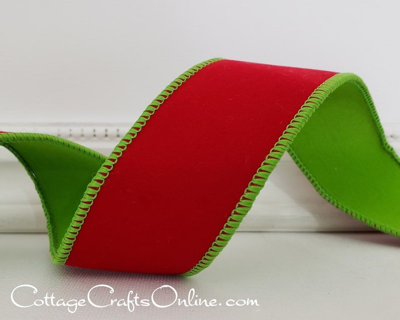 Christmas Wired Ribbon 1 1/2 Red Velvet with Lime Green image 0