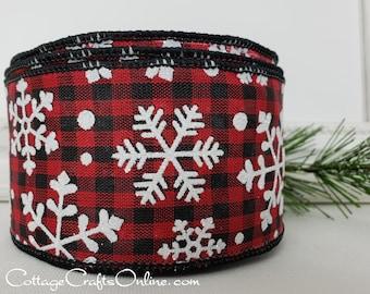 "Christmas Wired Ribbon, 2 1/2"" Red Black Check, Glitter Snowflakes - TEN YARD ROLL - ""Buffalo Gingham Snowflake"" Plaid Wire Edged Ribbon"