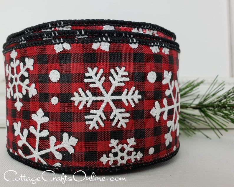Christmas Wired Ribbon 2 1/2 Red Black Check Glitter image 0