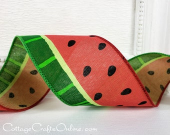 """Wired Ribbon, 2 1/2"""" wide, TEN YARD ROLL, Watermelon Print,  """"Seemour 40"""", Spring, Summer Fruit, Picnic Wire Edged Ribbon"""