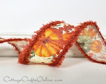 "Wired Ribbon, 1 1/2"", Pumpkins and Leaves on White, Rust Orange Fuzzy Edge - TEN YARD ROLL ~ Doris ~ Halloween Autumn Fall Wire EdgedRibbon"