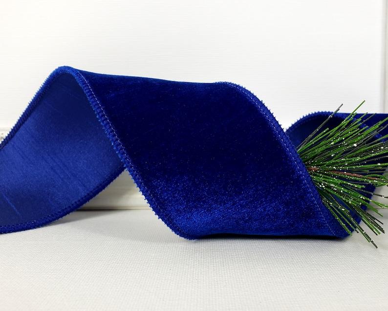 Christmas Wired Ribbon 2 1/2  Cobalt Blue Velvet Faux image 1