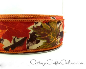 Fall Wired Ribbon, 1 1/2 wide, Orange Maple Leaf Pattern - THREE YARDS ~  Allegheny 9 ~ Autumn, Thanksgiving, Craft Wire Edged Ribbon