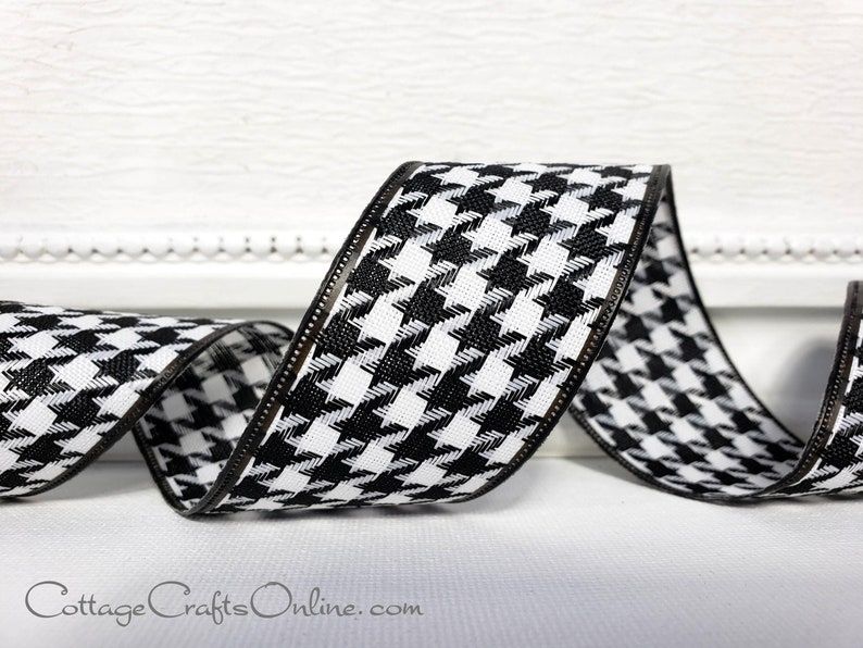 Wired Ribbon 1 1/2  Black and White Houndstooth  TEN image 0