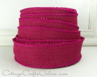 "Burlap Wired Ribbon, 1 1/2"", Fuchsia Pink Natural Jute - TWENTY FIVE Yard Roll - Offray Rustic Craft Wire Edged Burlap Ribbon"