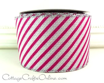 "Christmas Wired Ribbon, 2 1/2"", Fuchsia Pink, White Glitter Stripes - EIGHT YARD Roll - Craft, Decor Wire Edged Ribbon"