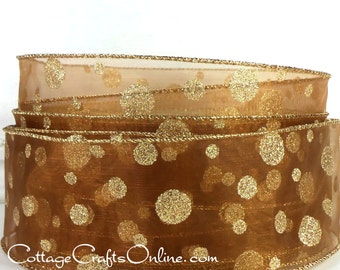 """Wired Ribbon, 1 1/2"""",  Bronze  Brown Sheer, Gold Glitter Polka Dots - FIFTY YARD ROLL - Christmas, Thanksgiving Wire Edged Ribbon"""