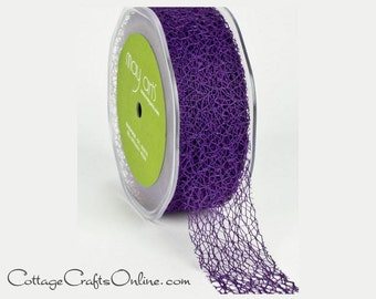 "Ribbon Purple Web, 1 1/2"" wide - THREE YARDS - May Arts Webbed Weave Net Lace Purple #47, Halloween, Mardi Gras, Craft Ribbon Trim"