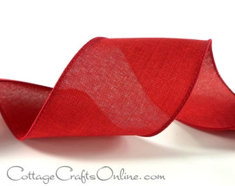 """Wired Ribbon, 2 1/2"""",  THREE YARDS,  Red Linen Look  - Divine ~ Christmas, Valentine, Patriotic, Summer, Canvas Style Wire Edged Ribbon"""