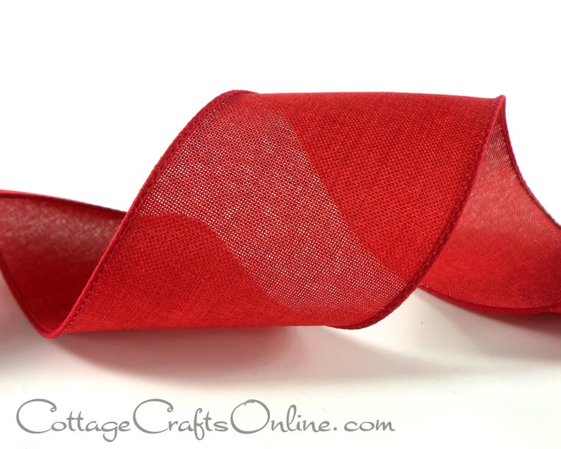 """5 Yards Gold Edge Red Sheer Valentine Christmas Wired Ribbon 1 1//2/""""W"""