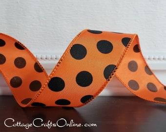 "Halloween Wired Ribbon, 1 1/2"" wide, Orange and Black Polka Dot - TEN YARD ROLL  -  Fall Craft Wire Edged Ribbon"