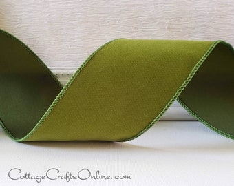 """Fall Wired Ribbon, 2 1/2""""  Olive Green Velvet Suede - THREE YARDS -  """"Holt""""  Halloween, Christmas Velvet Wire Edged Ribbon"""