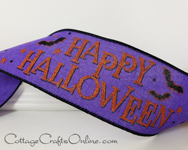 Halloween Wired Ribbon 2 1/2 Happy image 0