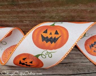 "Halloween Wired Ribbon, 2 1/2"", Jack O'Lantern, Cream Linen Style - THREE YARDS - ""Deeke"" Orange Pumpkins Wire Edged Ribbon"