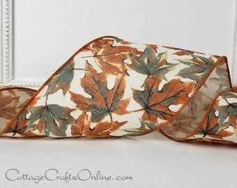 "d. Stevens Wired Ribbon, 4"",  Grey Green, Rust, Cream Oak Leaf Print - TEN YARD ROLL ~ Ocala ~ Fall, Autumn, Thanksgiving Wire Edged Ribbon"