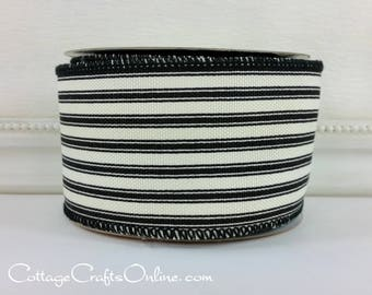 """Wired Ribbon, 2 1/2"""" wide, Black and Ivory Cotton Ticking Stripe - TEN YARDS -  """"Ticking 40"""" Summer, Spring, Country Wire Edged Ribbon"""