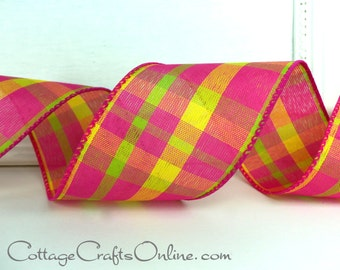 """Wired Ribbon, 2 1/2"""" Hot Pink, Bright Yellow, Lime Green Plaid - FIFTY YARDS - """"Summery Chic #19"""", Spring, Summer Tartan Wire Edged Ribbon"""