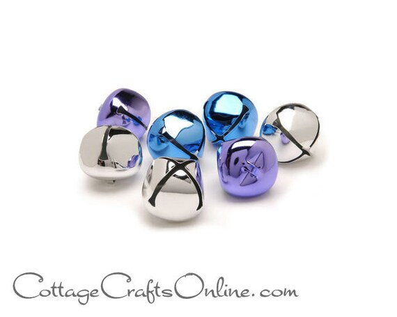 Darice Craft 1 12 Silver 8 Piece 35mm Assorted Pack Blue Jingle Bells Purple Christmas Craft Supply  Decor  Embellishment
