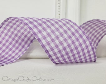 """Wired Ribbon, 2 1/2"""",  Lavender Purple Gingham Check, TEN YARD ROLL, Lilac Plaid Spring, Easter, Summer Wired Edged Ribbon"""
