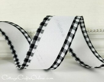 """Wired Ribbon, 1 1/2"""" wide, White Linen Look with Black and White Check Edge - TWENTY YARD ROLL -  """"Bandbox"""" Checked Craft Wire Edged Ribbon"""