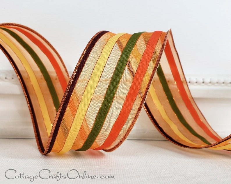 Wired Ribbon 1 1/2 Copper Sheer Yellow Green Orange image 0