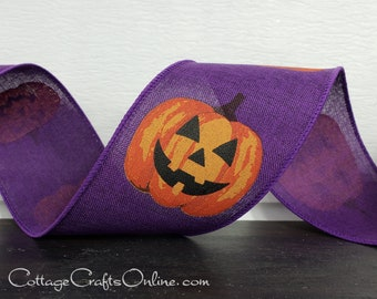 "Halloween Wired Ribbon, 2 1/2"", Jack O'Lantern Pumpkins on Purple Linen Style - TEN YARD ROLL - ""Jack Purple"" Craft Wire Edged Ribbon"
