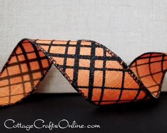 "THREE YARDS, Halloween Wired Ribbon, 1 1/2"", Black Glitter Check Plaid, Orange Linen Look - Offray ~ Halloween Windowpane ~ Wire Edged"