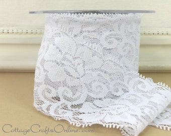 """Elastic Lace Ribbon 2 1/2"""" wide, White - THREE YARDS - May Arts - Use for hairbands, sewing trim, lingerie"""