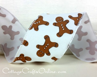 """Christmas Wired Ribbon, 2 1/2"""", Gingerbread People Cookies - THREE YARDS - Offray Lion, """"Kuchen"""" Wired Edge Ribbon"""