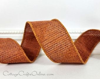 """Fall Wired Ribbon, 1 1/2"""", Rust Copper Open Cross Weave - TEN YARDS  ~ Rusty Hopsack ~ Halloween, Thanksgiving, Autumn Wire Edged Ribbon"""