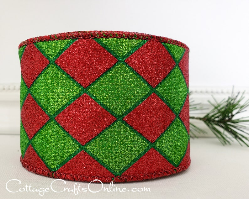 Wired Ribbon 2 1/2 wide Red and Lime Green Harlequin image 0