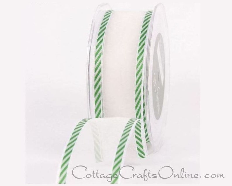 """5 Yards SALE White Flowers Green Sheer Wired Ribbon 1 1//2/""""W"""