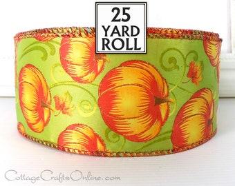 "Wired Ribbon, 2 1/2"", Pumpkin Orange, Green, Copper Glitter - TWENTY FIVE YARD Roll -  ""Pumpkin Blast"" Fall, Halloween Wired Ribbon"