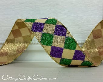 """Wired Ribbon, 1 1/2"""" wide, Purple, Green, Gold Harlequin Glitter - TEN YARD ROLL -  """"Court Jester New Orleans""""  Wire Edged Ribbon"""