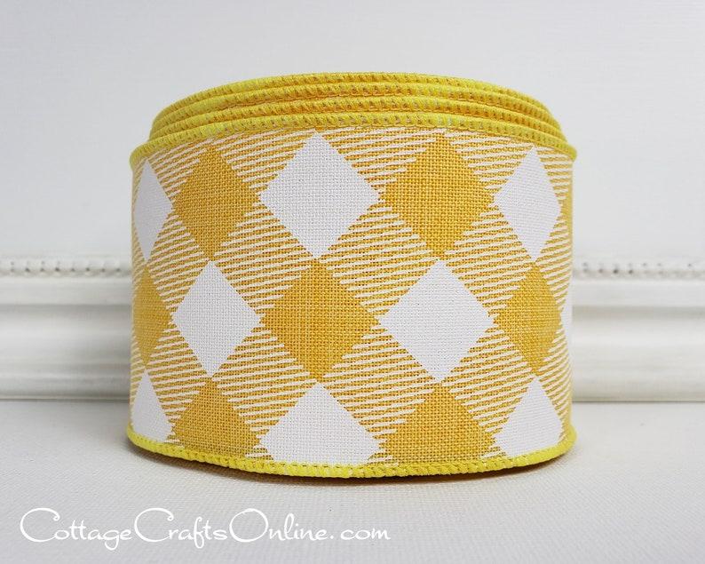 Wired Ribbon 2 1/2  Yellow White Diagonal Check  TEN image 0