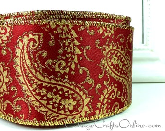 "Christmas Wired Ribbon, 2 1/2"" Gold Paisley, Red Satin, Glitter - TWENTY FIVE YARD RoLL - Offray ""Paisa"" Wire Edged Ribbon"