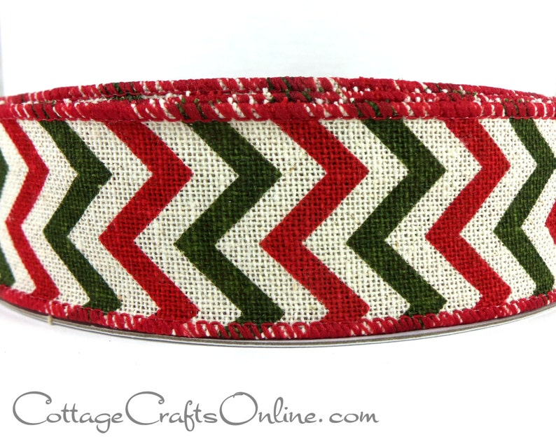 """5 Yards Christmas Red Beige Stitch Country Primitive Wired Ribbon 1 1//2/""""W"""