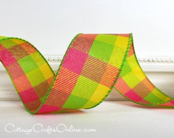 """Wired Ribbon, 1 1/2"""" wide, THREE YARDS, Pink, Green, Yellow Check Twill Plaid ~ Summer Breeze ~ Spring, Summer 1.5"""" Wire Edged Ribbon"""