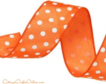 """Wired Ribbon, 1 1/2"""", Orange with White Polka Dots - TEN YARD ROLL ~ Small Dot - Halloween, Spring, Summer, Fall Wired Edge Ribbon"""