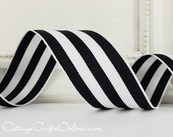 """Wired Ribbon, 1 1/2"""" , Black and White Stripe - THREE YARDS - Offray """"Carnival"""", Grosgrain Style Striped Craft Wire Edged Ribbon"""