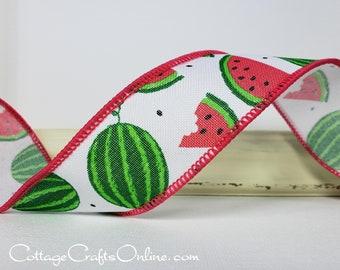 "Wired Ribbon, TEN YARD ROLL, 1 1/2"" wide, Pink, Green, Watermelon Print, ""Summer Slice Linen"" Spring, Summer, Fruit Print Wire Edged Ribbon"