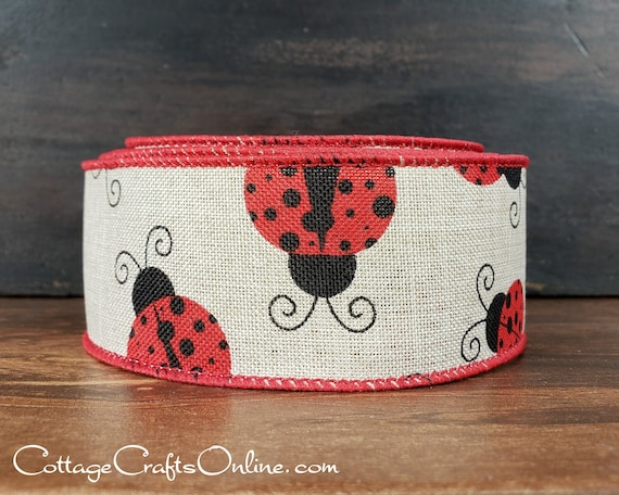 10 Wired Red Lady Bugs on Natural Linen Wreath Bow