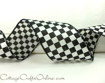 """Wired Ribbon, 2 1/2"""", Black and White Check Plaid - THREE & 2/3 YARDS - """"Raceway"""" #711109 Race, Racing Finish Flag, Wire Edged Ribbon"""