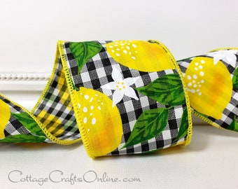 """Wired Ribbon,  2 1/2"""", Yellow Lemon Print on Black and White Gingham, TEN YARD ROLL, Spring, Summer, Fruit Print 2.5"""" Wire Edged Ribbon"""