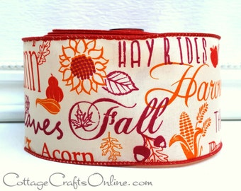"""Fall Wired Ribbon, 2 1/2""""  Fall Script Greetings - Ten Yard Roll - """"Autumn Mottos"""" Harvest Orange, Cranberry Thanksgiving Wire Edged Ribbon"""