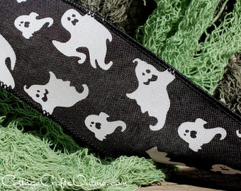 """Halloween Wired Ribbon ~ THREE YARDS ~ 2 1/2"""" wide, Ghosts on Black Linen Style Ribbon - Offray ~ Spookster ~ Craft Wire Edged Ribbon"""