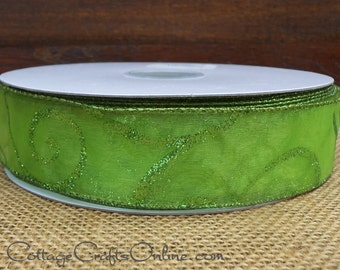 "Christmas Wired Ribbon, 1 1/2""  Wide, Lime Green Glittered Swirl Sheer - THREE YARDS -   Spring Craft, Decor Wire Edged Ribbon"